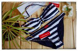 Оригинальный черный полосатый немецкий бандо купальник