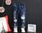 В наличии Темно-синие рваные джинсы по щиколотки для мальчика