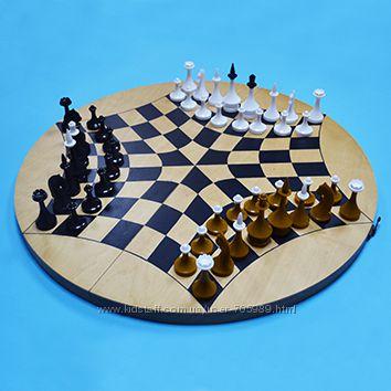 Русские шахматы - шахматы на троих - доска дуб