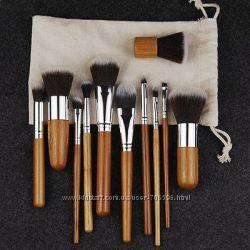 Набор кистей для макияжа в льняном мешочке 11 шт с бамбуковыми ручками
