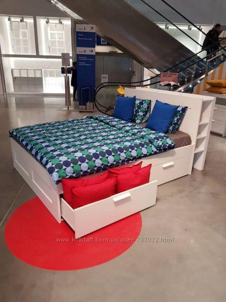 Кровать с изголовьем BRIMNES ikea Икеа
