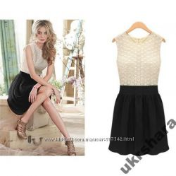 Платье черно белое короткое трикотажное