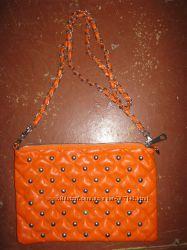 Сумка клатч женская оранжевого цвета