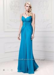 Платье вечернее в пол шифоновое бирюзового цвета из США