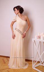 Платье вечернее в пол молочного цвета шифон из США