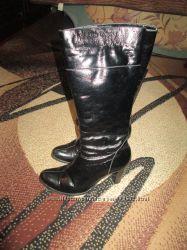 кожаные демисезонные  сапоги 39 размер замеры
