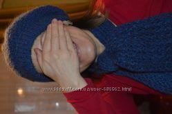 вязаные берет с шарфом