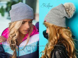 шапки разные, без бубона, с бубоном-польский кролик, вязка, шарф зигзаг