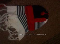 шапочка двойная с шарфиком