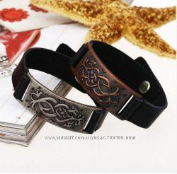 Готический браслет, Натуральная кожа и металл