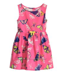 Красивое летнее платье с бабочками H&M на рост 104