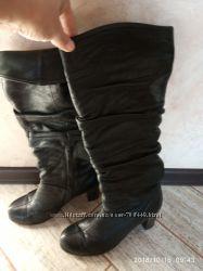 Кожаные сапожки на каблуке