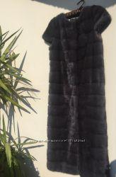 Шикарный норковый жилет, Италия сапфир 130 см