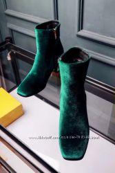 Шикарные Ботинки бархат, копия оригинала, бренд, , р. 41 цвет изумруд