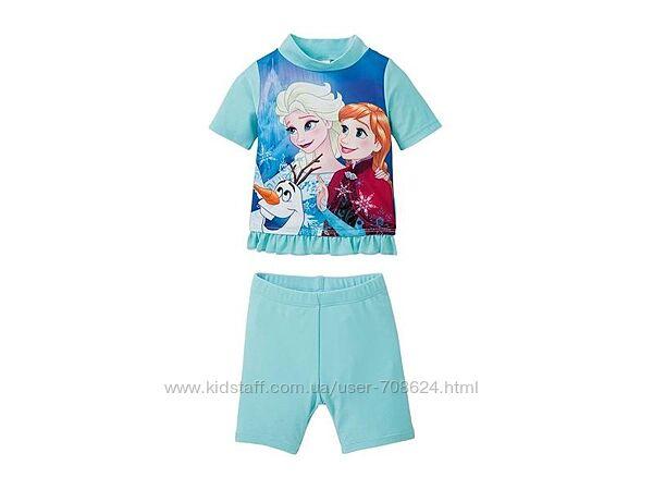 Пляжный костюм футболка, шорты, купальник 86/92 Frozen Disney.