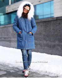Зимняя куртка-парка из джинса