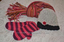 Нежная шапочка COLINS, тёплые варежки и яркий шарфик