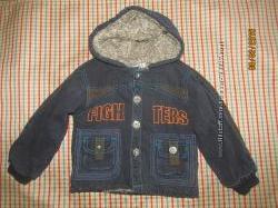 Джинсовая теплая куртка на меху в хорошем состоянии