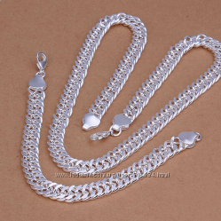 Шикарный мужской набор 10 мм ЦепочкаБраслет Серебро 925