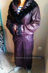 Итальянское  кожаное пальто
