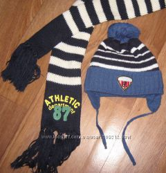 Шапочка с шарфиком для вашего малыша 2-3 годика