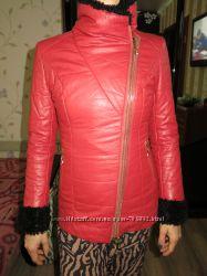 Удлиненная куртка из кожзама