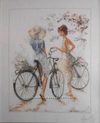 Вышитая картина крестиком Велосипедистки Lanarte.