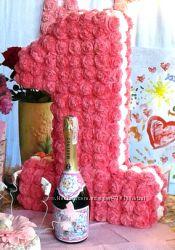 Нарядная единица, корона, шампанское с фото, флажки с Днем рождения
