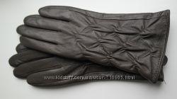 Женские кожаные перчатки, коричневые, серые