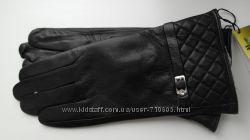 Кожаные женские перчатки черные, в ассортименте модели