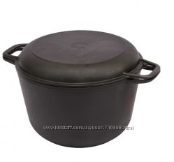 Кастрюля чугунная с крышкой  сковородкой 4л.  240мм