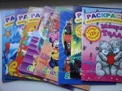 Раскраски с наклейками А4 цветной фон 16 стр Дисней Тедди Тачки Принцессы