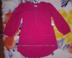 Блуза вельвет 5лет длинная Old Navy для девочки 4-5лет рубашка цвет малина