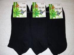 Женские короткие махровые носки бамбук, 36-39 р. черные