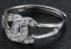 кольцо Шанель серебро 925 проба цирконы