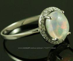 Благородный опал из Австралии цирконы в серебре кольца 17. 5- 19. 4