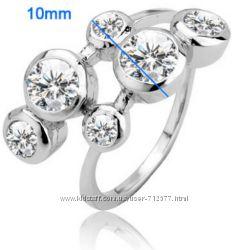 Распродажа кольца с цирконами родированная бижутерия
