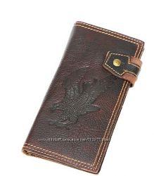 Уникальный кошелёк натуральная кожа винтаж портмоне бумажник орел