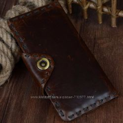 кошелек натуральная кожа восковая пропитка бумажник портмоне