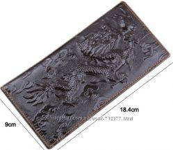 Кошелёк мужской дракон натуральная кожа бумажник портмоне