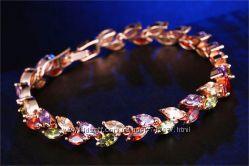 браслет позолота розовое золото цветные фианиты циркон цирконий