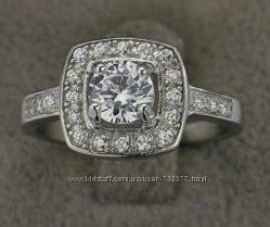 Кольцо Сияние бриллиантов родированное серебро 925 пробы, цирконы фианиты