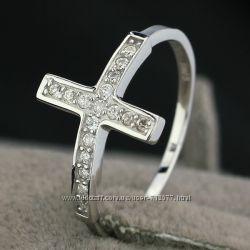 кольцо крест с 17 цирконами  размер 16 17. 5 18 19 серебро 925