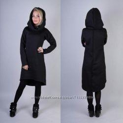 Стильное платье-толстовка-туника теплое