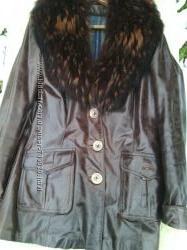 Кожаная зимняя весенняя курточка с кроличьей подстежкой