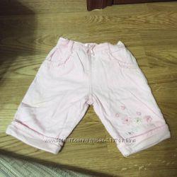 вельветовые розовые штанишки на девочку 0-3 мес бу