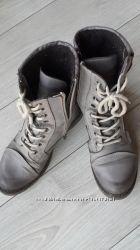 Кожаные зимние ботинки сапоги