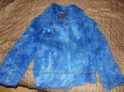 Синяя шубка из кролика натуральный мех