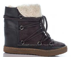 Зимние кожаные ботинки на платформе. Германия