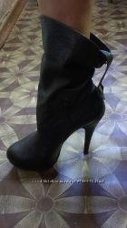 Кожаные черные ботинки. Цена снижена.